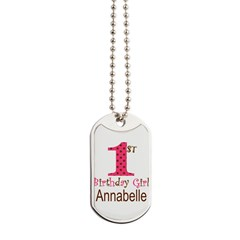Personalizable First Birthday Pink Brown Dog Tags