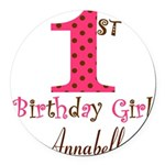 Personalizable First Birthday Pink Brown Round Car