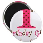 Personalizable First Birthday Pink Brown Magnets