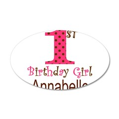 Personalizable First Birthday Pink Brown Wall Deca