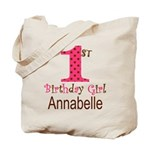 Personalizable First Birthday Pink Brown Tote Bag