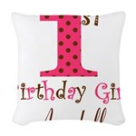 Personalizable First Birthday Pink Brown Woven Thr