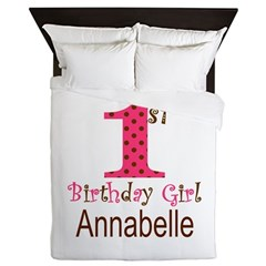 Personalizable First Birthday Pink Brown Queen Duv