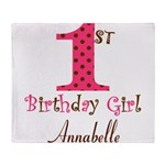 Personalizable First Birthday Pink Brown Throw Bla