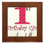 Personalizable First Birthday Pink Brown Framed Ti