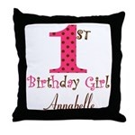Personalizable First Birthday Pink Brown Throw Pil