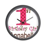 Personalizable First Birthday Pink Brown Wall Cloc