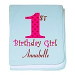 Personalizable First Birthday Pink Brown baby blan