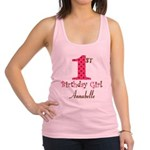 Personalizable First Birthday Pink Brown Racerback