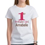 Personalizable First Birthday Pink Brown T-Shirt