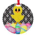 Easter Chick on Damask Ornament