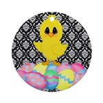 Easter Chick on Damask Ornament (Round)