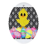 Easter Chick on Damask Ornament (Oval)