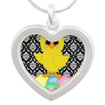 Easter Chick on Damask Necklaces