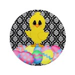 Easter Chick on Damask Button