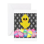 Easter Chick on Damask Greeting Cards