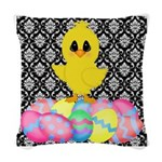 Easter Chick on Damask Woven Throw Pillow