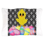 Easter Chick on Damask Pillow Case