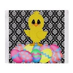 Easter Chick on Damask Throw Blanket