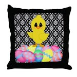 Easter Chick on Damask Throw Pillow
