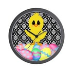 Easter Chick on Damask Wall Clock