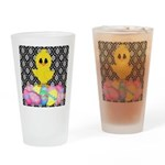 Easter Chick on Damask Drinking Glass