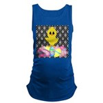 Easter Chick on Damask Maternity Tank Top