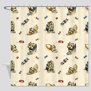 Yorkie World Blush Shower Curtain