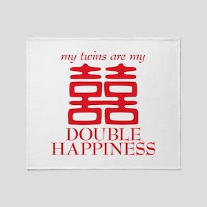 Double Happiness Throw Blanket