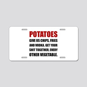 Potatoes Give Us Aluminum License Plate