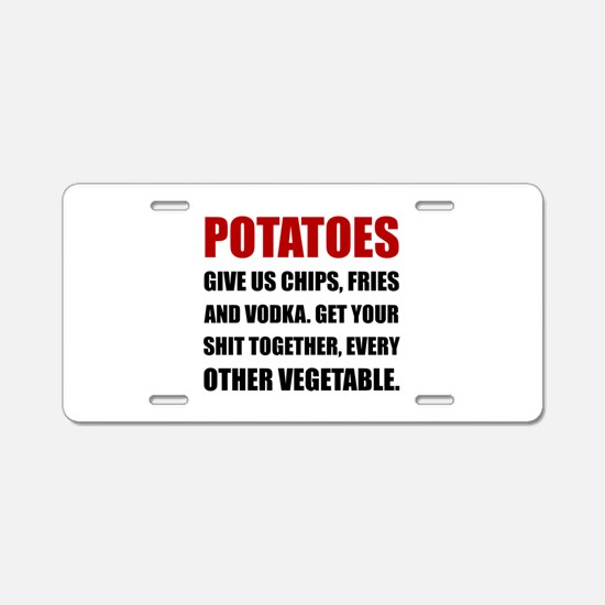 Potatoes Give Us Aluminum License Plate