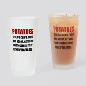 Potatoes Give Us Drinking Glass