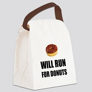 Will Run For Donuts Canvas Lunch Bag