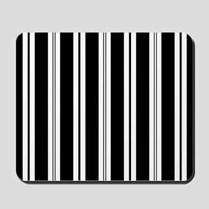 Striped Black and White Mousepad