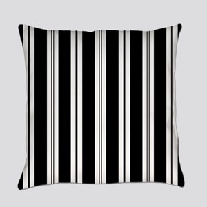 Striped Black and White Everyday Pillow