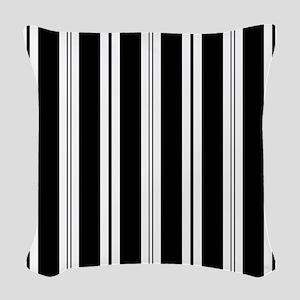 Striped Black and White Woven Throw Pillow