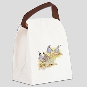 Covey of California Quail Birds Canvas Lunch Bag
