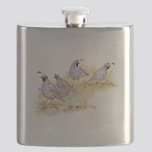 Covey of California Quail Birds Flask