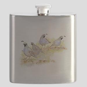 Covey of California Quail Birds Flask