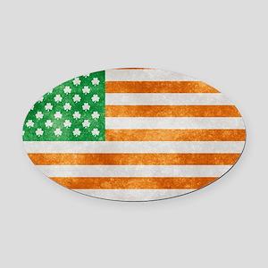 Irish American Flag Oval Car Magnet
