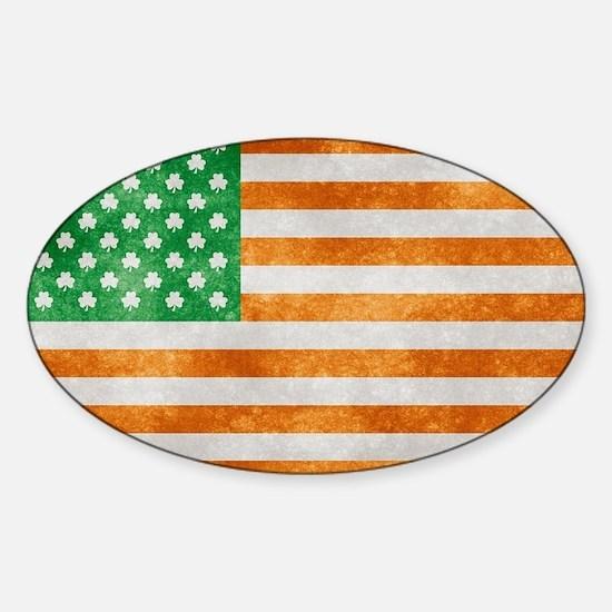 Irish American Flag Sticker (Oval)