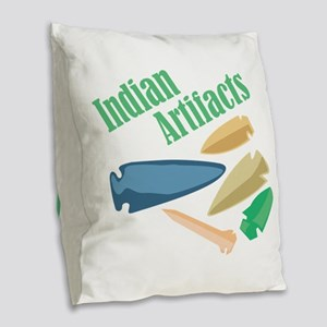 Indian Artifacts Burlap Throw Pillow
