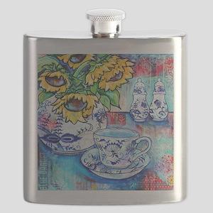 Blue Danube Suflowers Flask