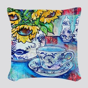Blue Danube & Sunflowers Woven Throw Pillow