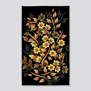 Black and Gold Floral Area Rug