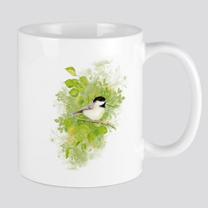 Cute Chickadee Bird in Poplar Tree Mugs