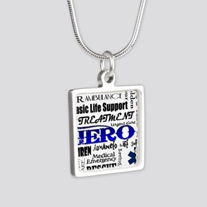 EMT Hero Subway Art Silver Square Necklace