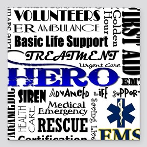 "EMT Hero Subway Art Square Car Magnet 3"" x 3"""