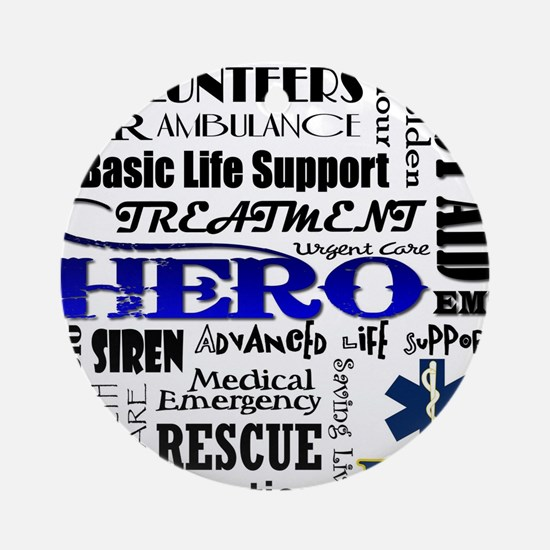 EMT Hero Subway Art Round Ornament