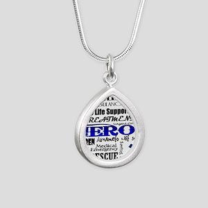 EMT Hero Subway Art Silver Teardrop Necklace